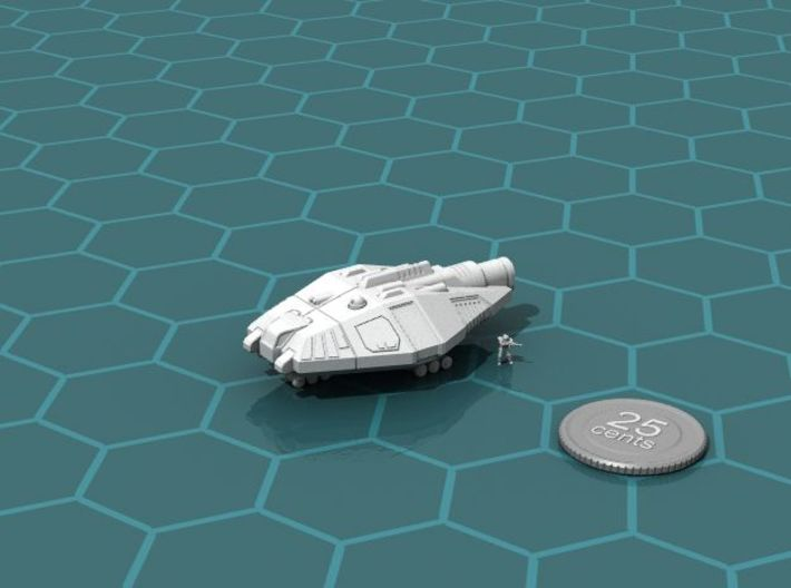 Fast Courier 3d printed Render of the model, with a virtual quarter for scale.