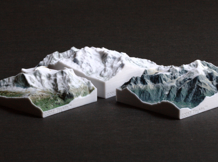 Monte Rosa, Switzerland/Italy, 1:150000 Explorer 3d printed Eiger, Monte Rosa, and Mont Blanc models, all at 1:150000 scale