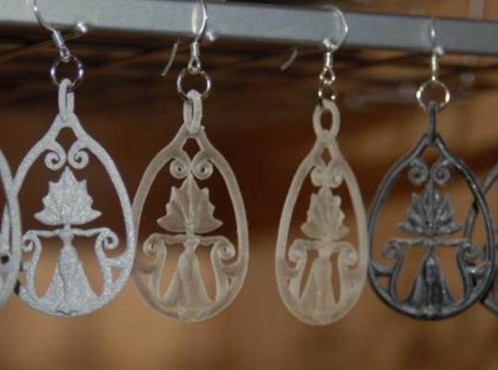 Art Nouveau Goddess of Progress Earrings 3d printed Alumide, Translucent Detail and Black Detail.