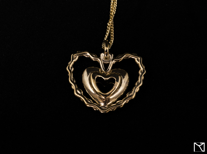 Heart Pendant 3d printed Polished Brass