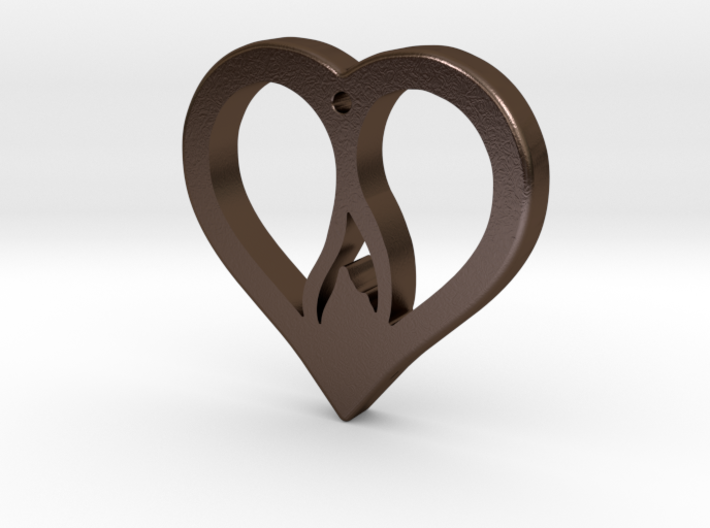 The Flame Heart (steel pendant) 3d printed