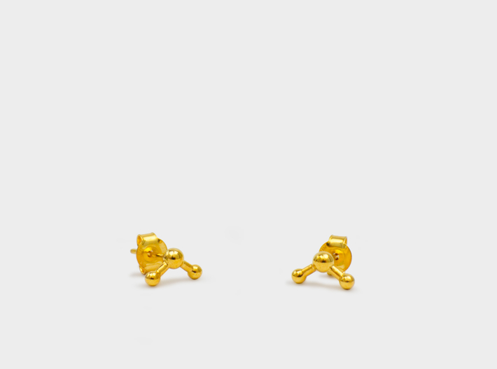 Water Molecule Stud Earrings 3d printed Water molecule earrings studs gold