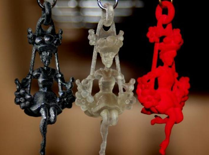 Victorian Swing Lady Earrings 3d printed Photos of the finished product.