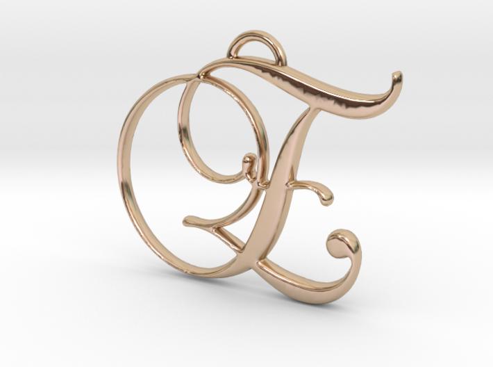 Elegant Script Monogram E Pendant Charm 3d printed