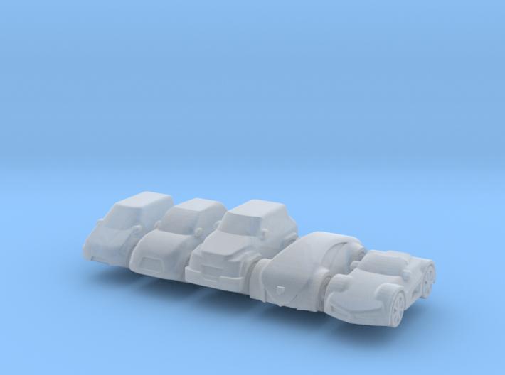 Miniature cars 15mm, 5 models (5pcs) 3d printed