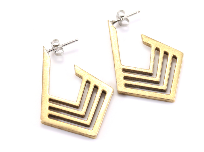 Geometric Diamond Earrings 3d printed