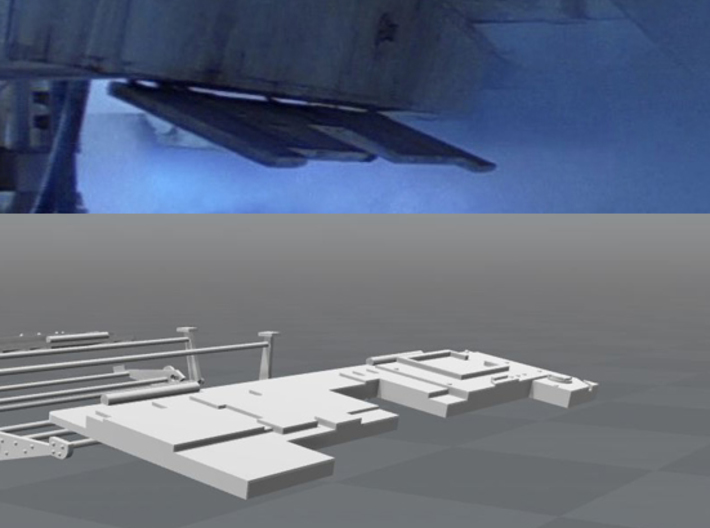 DeAgo Millennium Falcon Landing Bay Doors 3d printed Comparison of the 3D model with a still from the movie