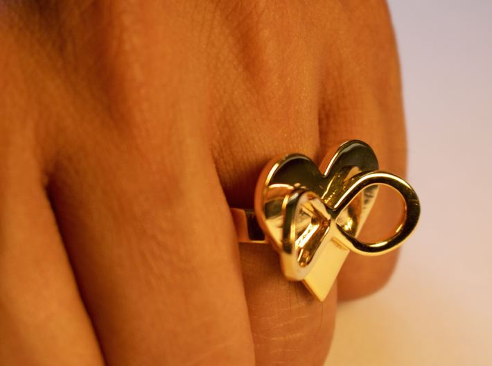 AMOUR in 14k gold plated 3d printed