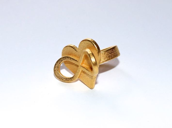 AMOUR in polished gold steel  3d printed