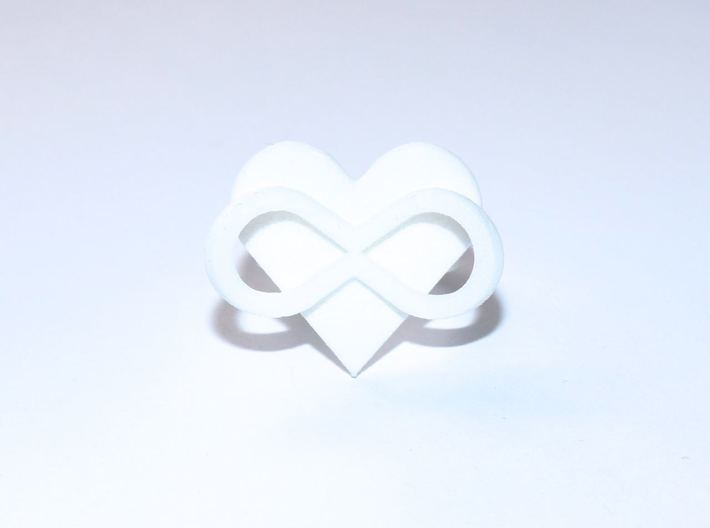 AMOUR in white polished plastic 3d printed