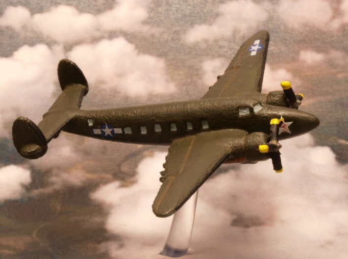 Lockheed C-60 Lodestar 6mm 1/285 3d printed Lockheed C-60 lodestar in generic us army colors