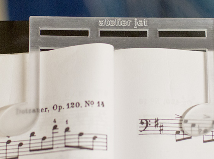 Strong and Heavy Music Book Page Holder 3d printed Strong clear acrylic