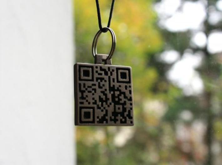 QR steel tag / business card 3d printed tag as a pendant