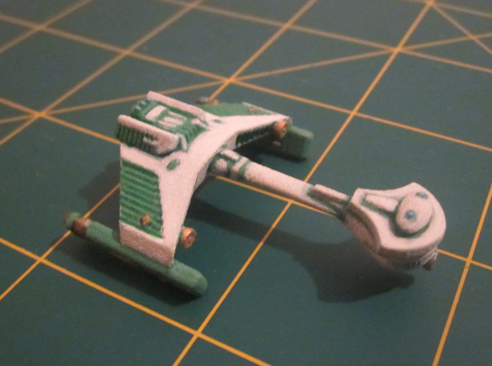 3125 Scale Klingon F5SB Scout Frigate WEM 3d printed Painted in Romulan colors (a K5S Scout) by a fan