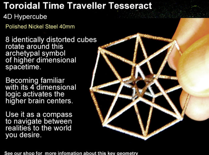 Sacred Geometry: Toroidal Hypercube 38mmx1mm 3d printed Masculine in Nickel Steel (not recommended to wear against skin as some have Nickel allergies