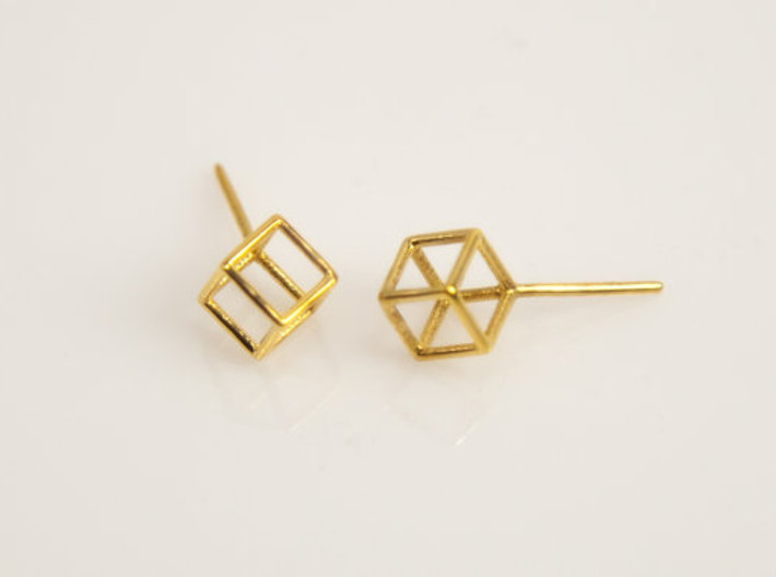 Cube Stud Earrings 3d printed