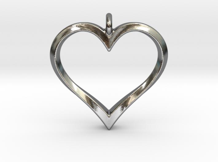 Twisting Heart Pendant 3d printed