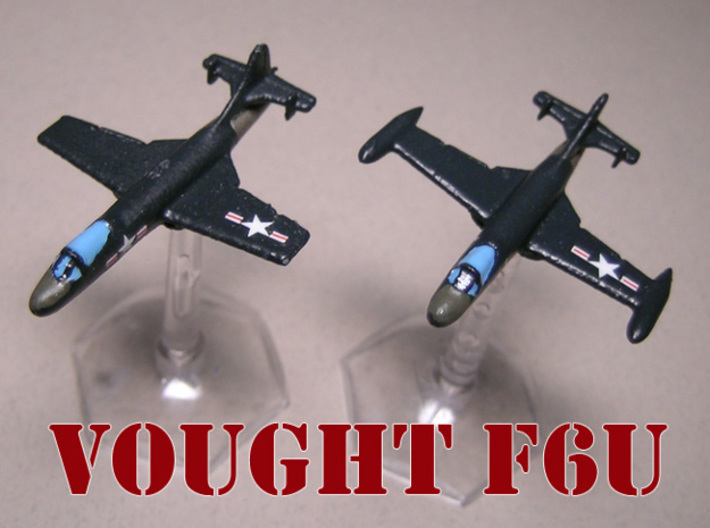 Vought F6U-1 Pirate (Pair) 1/285 6mm 3d printed Vought F6U Pirate pair painted by Fred O.
