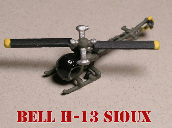 Bell OH-13G Sioux 6mm 1/285 3d printed Bell OH-13G Sioux painted by Fred O.