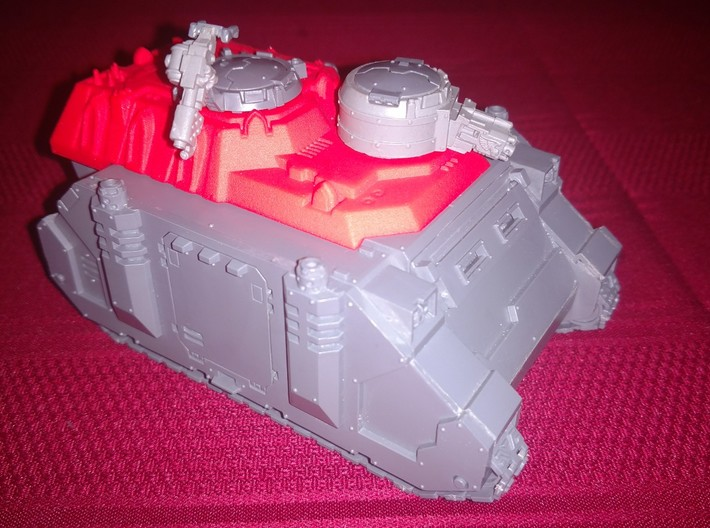 Heavy Transport Conversion 3d printed Shown here with Games Workshop Rhino model and Forge World weapon turrets