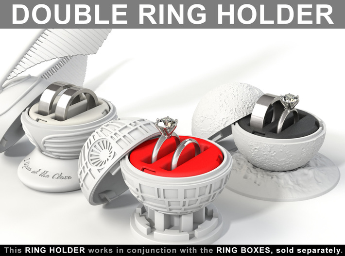 DOUBLE RING HOLDER (REGULAR) To (*) ALL RING BOXES 3d printed Choose your Ring Box in the shop. The rings are not included.