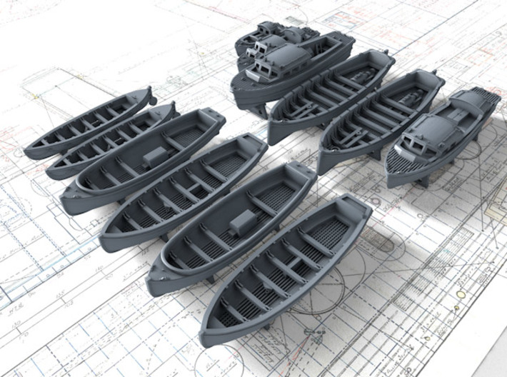 1/400 Scale HMS Victorious Boat Set 3d printed 1/400 Scale HMS Victorious Boat Set