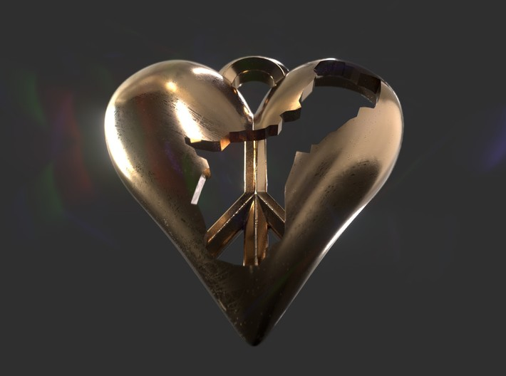 Guam in Heart with Peace Symbol Necklace Pendant 3d printed Give peace a chance pendant