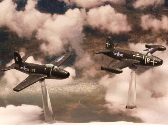 North American Aviation FJ-1 Fury (Pair) 1/285 6mm 3d printed North American FJ-1 Furies in US Navy colors
