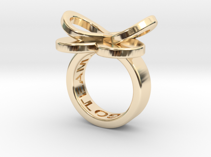 AMOUR petite in 14k gold plated 3d printed