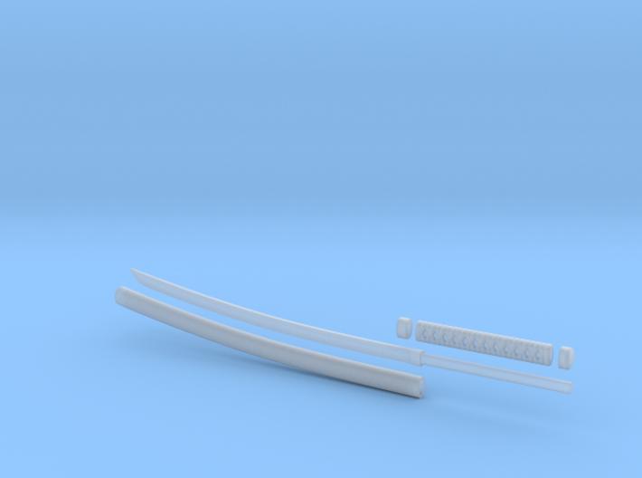 Katana - 1:6 scale - Curved Blade - No Tsuba 3d printed
