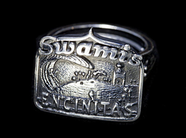 Swamis Encinitas Surf Art Ring - Customizable 3d printed My personal ring, antiqued myself.