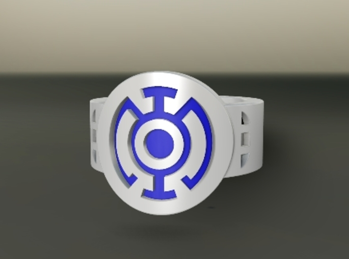 Blue Hope FF Ring Sz 8 3d printed Custom Enameled