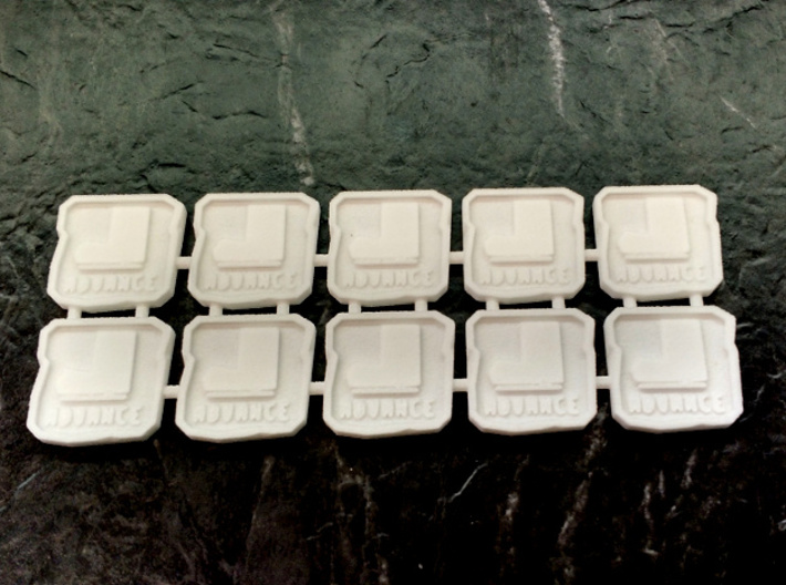 """Two-sided Space Ork Movement Markers x10 3d printed The """"advance"""" side of the tokens"""