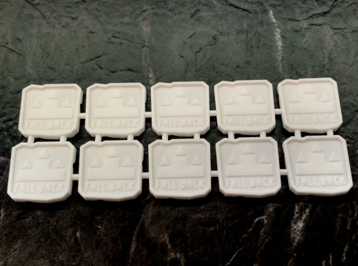 """Two-sided Space Ork Movement Markers x10 3d printed The """"fall back"""" side of the tokens"""