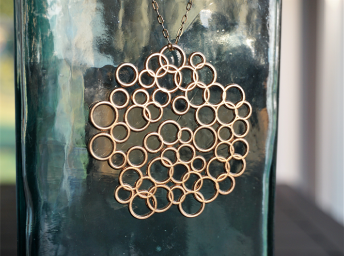 Bubble Pendant 3d printed Raw Bronze