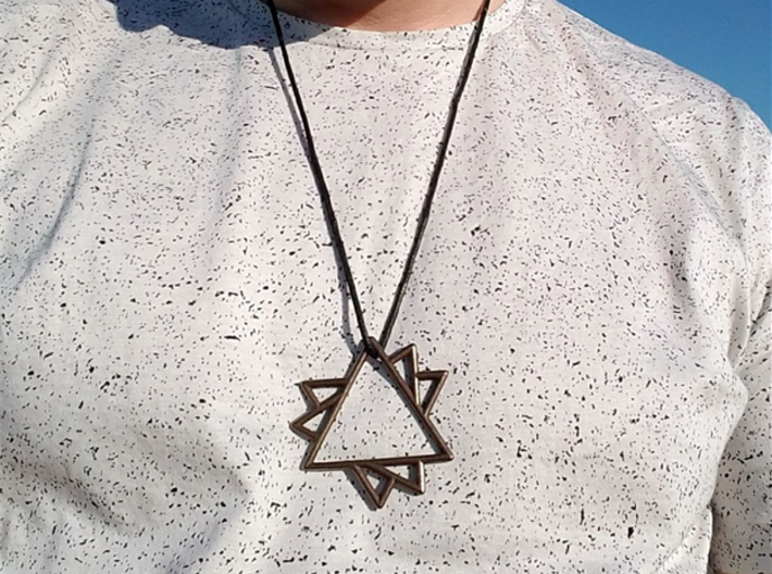 60 Degree Pendant 3d printed Overlapping Triangles Pendant in Polished Bronze Steel