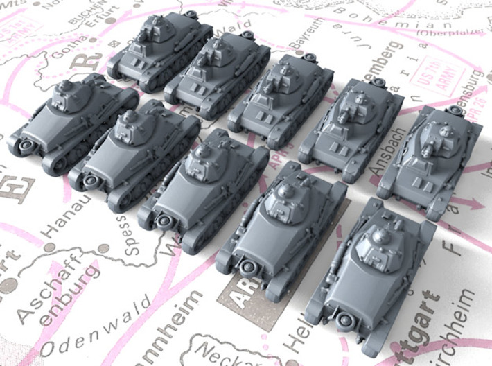 1/700 French Hotchkiss H35 Light Tanks x10 3d printed 1/700 French Hotchkiss H35 Light Tanks x10