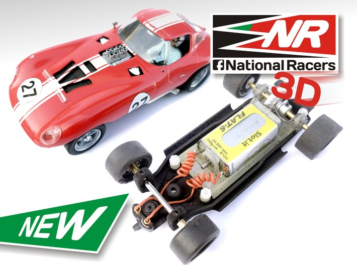 3D Chassis - MRRC Cheetah - Inline 3d printed Chassis compatible with MRRC model (slot car and other parts not included)
