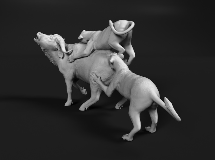 Cape Buffalo 1:32 Attacked by Lions 3d printed