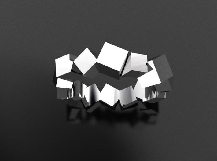 Ring Mary Double Prisms  3d printed Steel Ring Nice Elegant