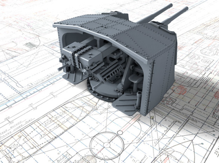 "1/144 Tribal Class 4.7"" MKXII CPXIX Twin Mounts x4 3d printed 3d render showing product detail"