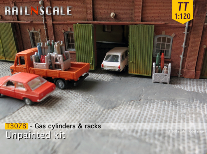 Gas cylinders and racks (TT 1:120) 3d printed