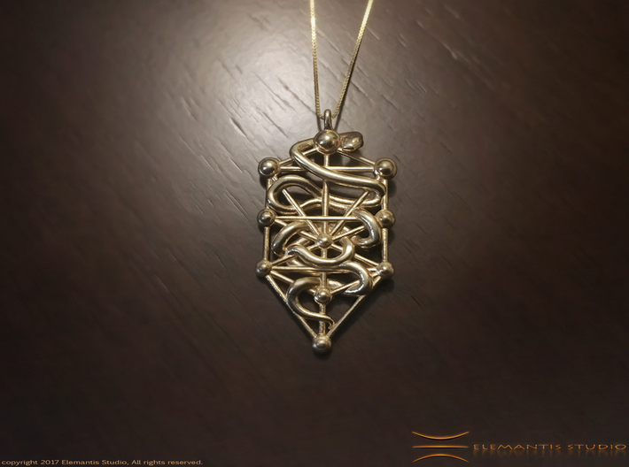 Kabbalah Serpent Pendant 4.5cm 3d printed Raw Brass example (Chain not included)