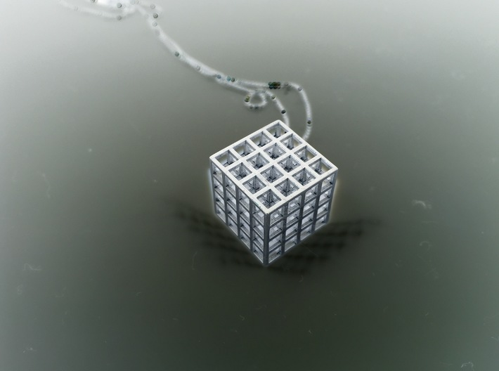 Mesh Cube Necklace 3d printed