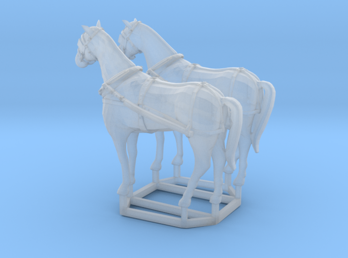 2 pack HO scale horses with harnesses variant 1 3d printed