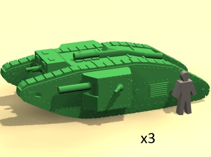 6mm WW1 Mk.IV Male tank 3d printed