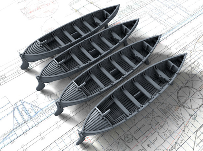 1/285 (6mm) Scale Royal Navy 27ft Whalers x4 3d printed 1/285 (6mm) Scale Royal Navy 27ft Whalers x4