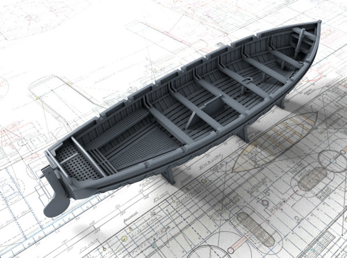 1/144 Scale Royal Navy 32ft Cutter x1 3d printed 3d render showing set detail