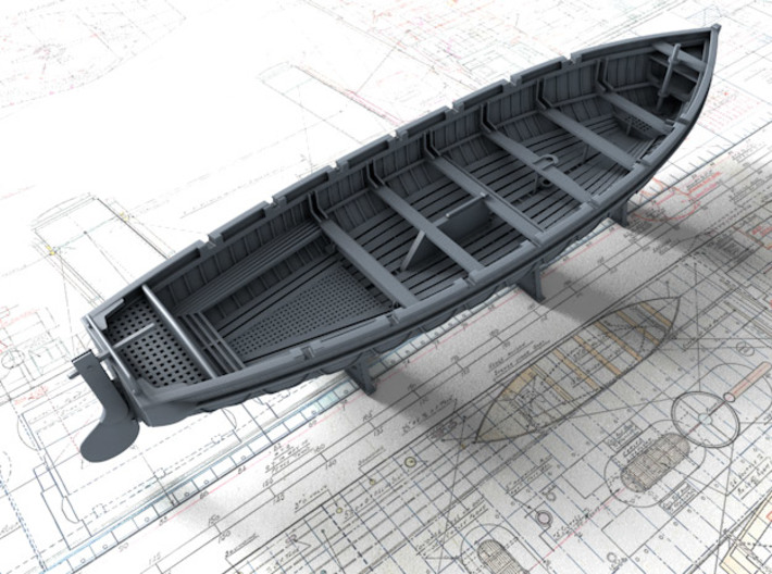 1/72 Scale Royal Navy 32ft Cutter x1 3d printed 3d render showing set detail