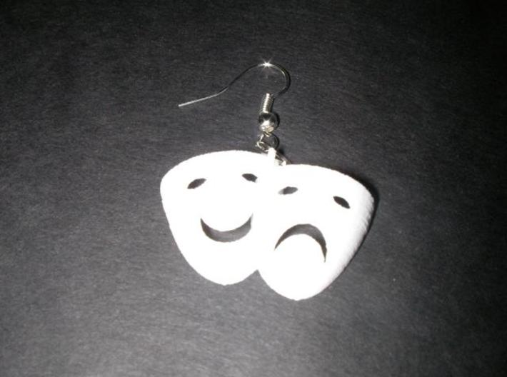 Comedy Tragedy Mask Earrings Pair Printed Not Sanded